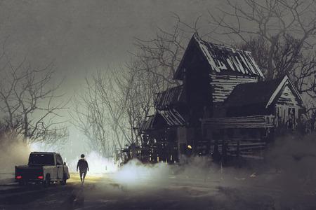 Scène de nuit du chauffeur de camion et abandonnée vieille maison hantée dans la forêt, illustration peinture