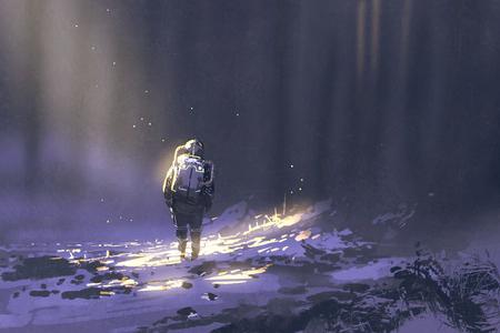 solo astronauta che cammina nella neve, illustrazione pittura