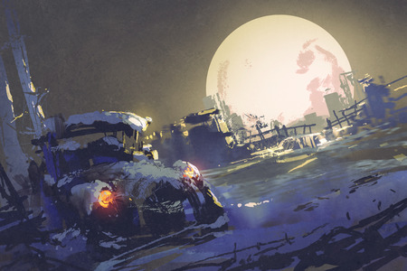 winter scenery: winter night scenery showing abandoned car coverd with snow and big fullmoon on background,illustration painting