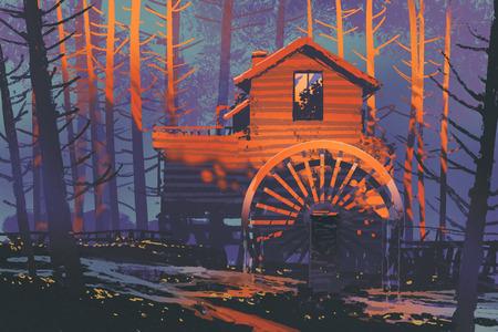 molino de agua: casa de madera con una noria en el bosque al atardecer, pintura ilustración Foto de archivo