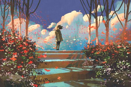 man standing on top of the steps in the park with crowd of butterflies,illustration painting