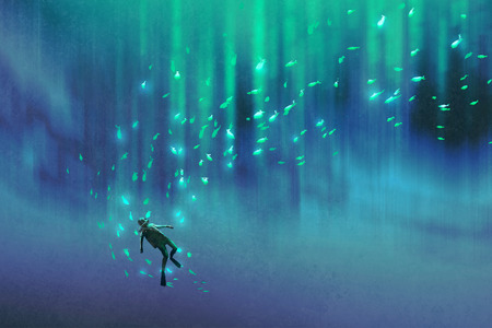 man underwater: diver and many glowing fish under the sea,illustration painting
