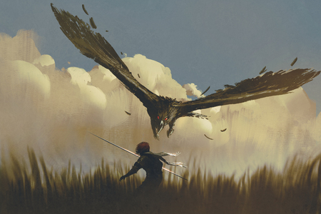 the big eagle attack the warrior from above in a field,illustration painting