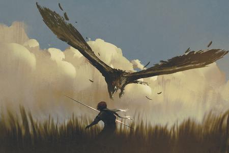 De grote adelaar aanvalt de strijder van bovenaf in een veld, illustratie schilderij Stockfoto