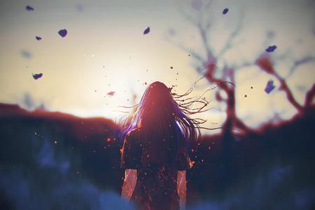 achtermening van vrouw met gebarsten effect op haar lichaam kijkend de zonsopgang, illustratie het schilderen Stockfoto