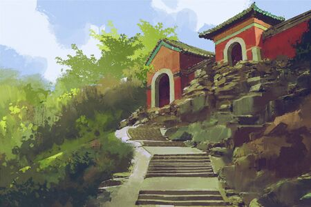 beautiful scenery of stone stairway to the ancient buildings on the hill,illustration painting Фото со стока
