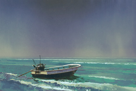 the boat on the sea with grey sky on background,illustration painting Archivio Fotografico