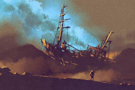 Nachtszene des verlassenen Schiffes auf der Wüste mit Stary Himmel, Illustration Malerei Standard-Bild - 72660899
