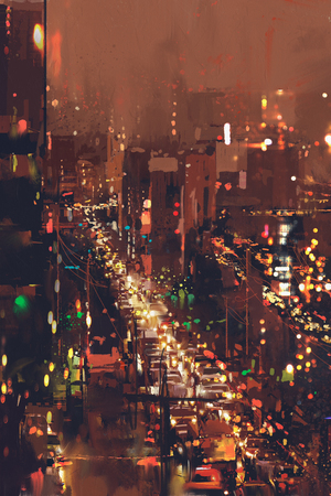 aerial view of night cityscape with colorful light,illustration painting