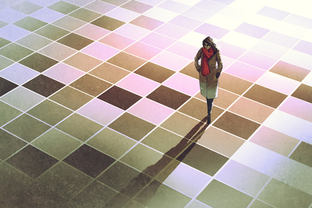 business woman standing on the floor with graphic pattern tiles,illustration painting