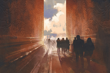 people walking on the narrow alley with graphic pattern on the walls,concept of way to beautiful place,illustration painting Archivio Fotografico