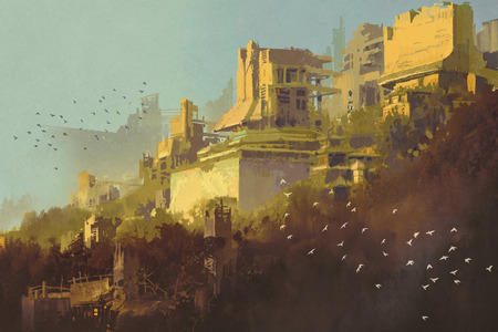 Abandoned buildings in futuristic city at sunset,sci-fi scenery illustration painting Archivio Fotografico