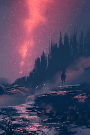 Hombre de pie sobre la roca con la cascada mirando el cielo nocturno, pintura ilustración Foto de archivo
