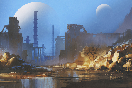 sci-fi scenery of the way to abandoned industrial buildings with planets in the sky on background,illustration painting