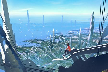 Vista aérea con el hombre sentado en el borde de la construcción buscando a la ciudad futurista, pintura ilustración