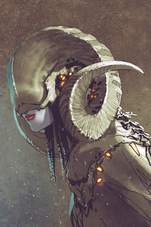 beautiful face: dark fantasy human creature with curled horns,illustration painting