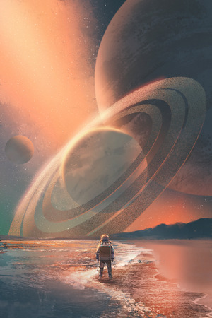 The Astronaut standing on the beach looking at planets in the sky,illustration painting