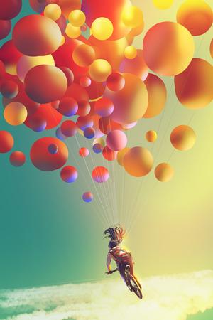 カラフルな風船で自転車に乗って女性、空、絵画の図