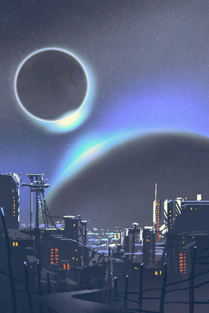 illustration of the futuristic city with planets and solar eclipse on background,digital painting Archivio Fotografico