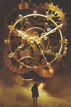 man met een lantaarn staande voor de grote gouden uurwerk, illustratie schilderij Stockfoto