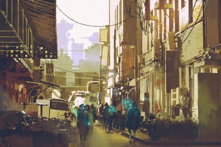 イラスト絵画街を歩いて人々 を示す未来の都市コンセプト 写真素材