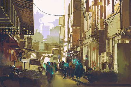 urban street: futuristic urban concept showing people walking in city street,illustration painting Stock Photo