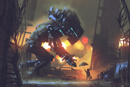 ruins: kid giving umbrella to giant robot in the rainy night,illustration painting