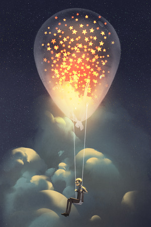 man and big balloon with glowing stars inside floating in the sky at night,illustraion painting