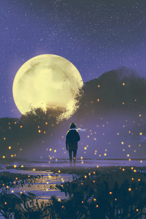 night scenery of man standing in swamp with fireflies and full moon on background,illustration painting 스톡 콘텐츠