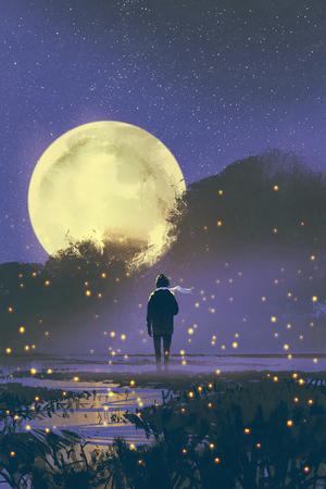 nachtlandschap van de mens die zich in moeras met glimwormen en volle maan op achtergrond, illustratie het schilderen bevinden