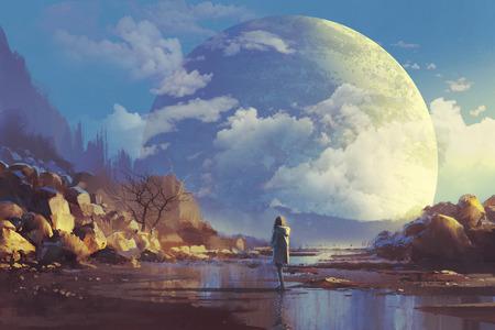 Landschaft der einsamen Frau Blick auf eine andere Erde, Illustration Malerei