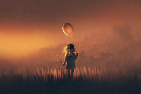 het kleine meisje met gasmasker met ballon staande in velden bij zonsondergang, illustratie schilderij