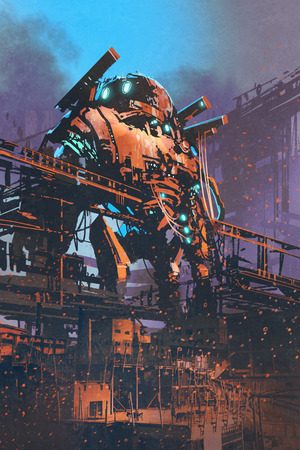 restoring the old giant robot in abandoned factory,illustration painting