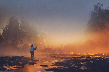 sunset lake: man fishing in the lake during a foggy sunrise,illustration painting