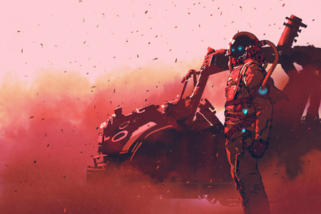火星の惑星、絵画の図に未来の車の近くに立って赤宇宙飛行士 写真素材