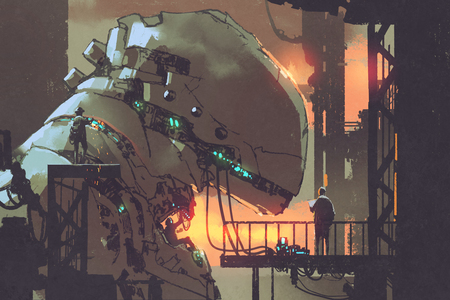 mechanicals repairing the giant robot in factory,illustration painting