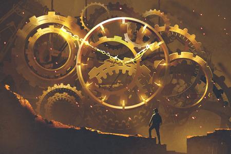 człowiek stojący przed wielkim złotym zegarku, ilustracja malarstwo