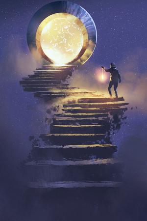 Homme avec une lanterne marchant sur un escalier en pierre menant à la porte fantastique, peinture d'illustration Banque d'images - 74632320