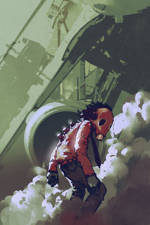 futuristic character of red gas mask man standing in white smoke,illustration painting Reklamní fotografie