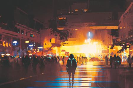 夜、サイファイの概念、絵画の図で未来都市を見て通りに立っている人