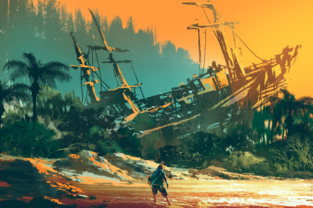 the castaway man standing on island beach with abandoned boat at sunset, illustration painting Stockfoto