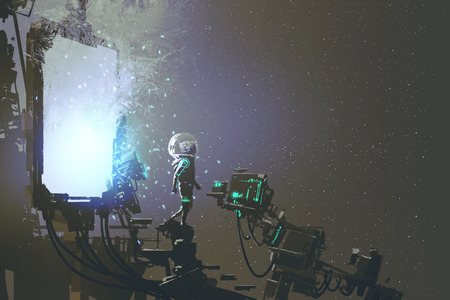 the astronaut walking out through futuristic portal, sci-fi concept, illustration painting