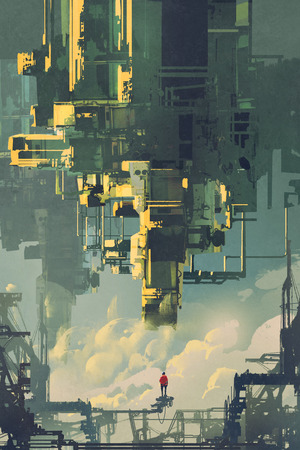 man standing on structure against sci-fi buildings floating in the sky, illustration painting Banque d'images