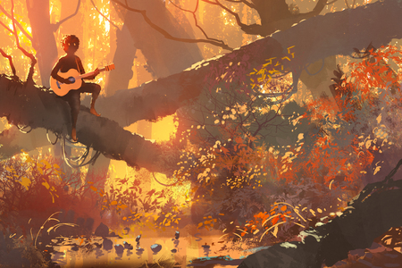 illustration and painting: young man with guitar sitting on the tree in autumn forest, illustration painting