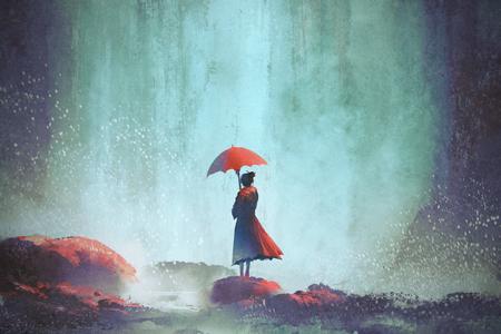 Mulher com um guarda-chuva em pé contra cachoeira, pintura de ilustração Foto de archivo - 75086680