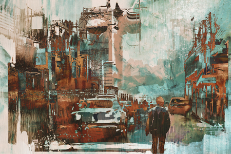 man walking in city street with abtract painting texture, illustration art Reklamní fotografie