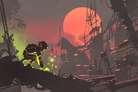 De robot planten zaden in de ruïne stad bij zonsondergang, illustratie schilderij