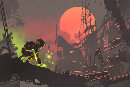 a touch: the robot planting seeds in the ruin city at sunset, illustration painting