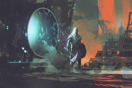 the templar knight walking out through futuristic portal, sci-fi concept, illustration painting
