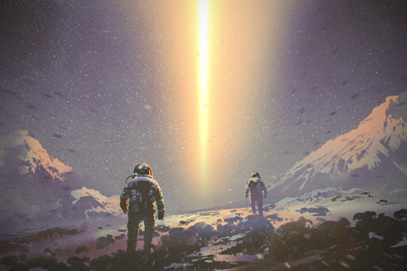 astronauts walking to mystery light beam from the sky, sci-fi concept, illustration painting